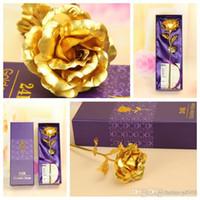Wholesale Naked Girls - Golden Rose Gold Foil Plated Naked Flower For Mother Day Valentine Gift Wedding Decor Send Girl Friend Boutique 2jp F