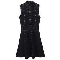 2018 Summer Black Stand Collar Sleeveless A-Line Women Dress Brand Same Style Crystals Button Vestidos De Festa 13