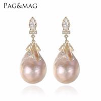 ingrosso prigioniero barocco dell'orecchino della perla-Orecchini a forma di perle d'acqua dolce naturali di forma ovale di marca PAGMAG e orecchini in argento 925 speciali per le donne