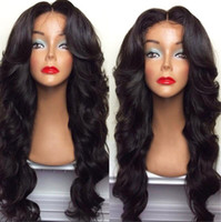 celebrity hair bangs 2018 - Celebrity style Synthetic wigs loose body wave Hair Wig Natural black 1B color with side bangs black women full wigs