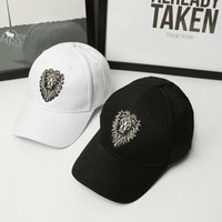Wholesale cool caps for boys resale online - High quality lion face embroidery snapback cap cool king hip hop hat for boys and girls