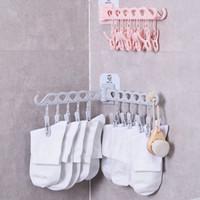 múltiples perchas de ropa plegables al por mayor-Calcetines Rack 10 Clip Sticky Wall Hanger Rack de secado plegable de la ropa interior hogar multifuncional estante de ropa para baño cocina GGA1325
