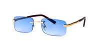 boîte bleue orange achat en gros de-Bleu Buffalo Corne Lunettes Hommes Femmes Lunettes de Soleil Pour Marque Designer Sans Monture Noir Clair Lens Luxe Or Cadre En Métal avec Boîte Case Lunettes