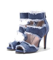 bf95e1a4db4e sexy 9.5cm heel thin heel super high heel jeans peep toe fish mouth cool  sandals size 33-43 457