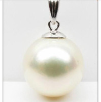 Wholesale south sea pearl pendant white resale online - HUGE MM NATURAL SOUTH SEA WHITE PERFECT ROUND Shell PEARL PENDANT K WHITE