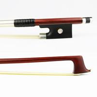 ingrosso argento ebano-4/4 dimensioni genuino pernambuco arco di violino modello master argento filetto ebano rana naturale crine di violino parti accessori