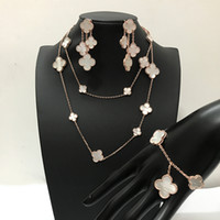 Wholesale white mother pearl shell necklace for sale - Group buy Fashion brand silver four leaf flower jewelry set for women wedding necklace bracelet earrings white mother pearl shell clover jewelry