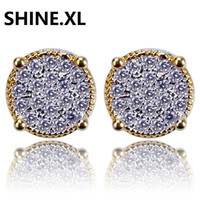 Wholesale ear studs backs - Hip Hop Cubic Zirconia Stud Earrings for Men Tow Tone Iced Out Round Earring Hypoallergenic for Sensitive Ears with Screw Backs
