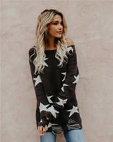 ingrosso maglioni dalle spalle delle donne-Maglione da donna oversize lavorato a maglia stelle maglione oversize Maglione da donna largo spalla manica pipistrello maglione allentato maglione
