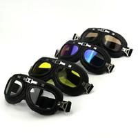 lunettes de pilote steampunk achat en gros de-Lunettes de moto Lunettes Vintage Motocross Classique Lunettes De Vélo Rétro Aviateur Pilote Cruiser Steampunk Vélo Riding