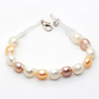 Wholesale freshwater lobsters - Freshwater Pearl Beaded Bracelet 7-8mm Button Pearl Bracelet for a love gift