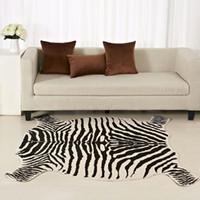 zebendruck leder großhandel-Enipate Zebra Kuh Ziege gedruckt Teppich Rindsleder Kunstleder rutschfeste rutschfeste Matte Tierdruck Teppich für Zuhause 110x75cm / 50 * 90cm