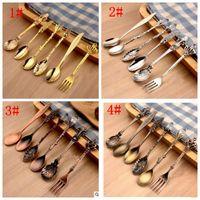 Wholesale blue desserts - 6Pcs Set Royal Style Spoons Fork Metal Carved Mini Coffee Spoons Kitchen Accessories fruit prikkers dessert Fork KKA3990