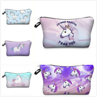 Wholesale Cute Cosmetic Packaging - Fashion 28 Styles Unicorn 3D Digital Printing Cosmetic Bag Kids Small Storage Keys Holder Cute Gifts Package Travel Wash Bags 22*13.5CM M040