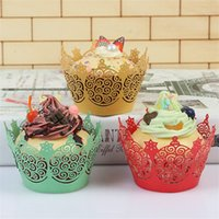 Wholesale cupcakes wrappers - Bakeware Cupcake Liners Wrapper Paper Boxes Support Heat Resisting Multi Color Hollow Out Laser Cut Wedding Party Decoration 0 34lc CW