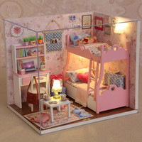 Wholesale handmade toy wood house for sale - Handmade Doll House Furniture Miniatura Diy Doll Houses Miniature Dollhouse Wooden Toys For Children Grownups Birthday Gift HLZ