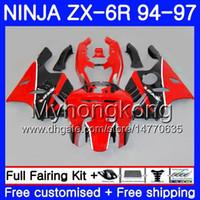 zımpara zx6r 95 kırmızı toptan satış-KAWASAKI NINJA ZX 636 600CC ZX 6R için vücut kitleri 1994 1995 1996 1997 213HM.35 ZX600 ZX636 ZX-6R 94 97 ZX6R 94 95 96 97 Fabrika kırmızı siyah Fairing
