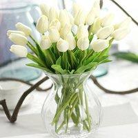 verdadeiro toque de tulipas artificiais pu venda por atacado-Tulipa artificial 20 peças / lote Artificial Flor Tulipa PU Artificia bouquet de Flores reais de toque em casa Flores decorativas de Casamento