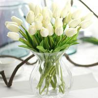 düğün buketleri laleler toptan satış-Yapay lale 20 adet / grup Yapay Lale Çiçek PU Artificia Çiçek buketi Gerçek dokunmatik çiçekler Ev Düğün dekoratif çiçekler