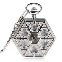 часы для женщин серебристый оптовых-2018 New Hexagon Shape Silver Fob Watch Women Hollow Mouse Snowflake Hand Winding Mechanical Pocket Watch Chain XMAS Gifts MP071