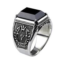 925 ringe für männer stein großhandel-Vintage Ring Männer Echt Reine 925 Sterling Silber Schmuck Schwarz Obsidian Naturstein Ringe Für Herren Punk Rock Mode