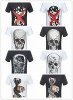 Wholesale cotton tshirts - Hot Sell 2018 Summer Men's Round Collar Short Sleeve Sweatshirt T-shirts Cotton Print Skull Tiger T Shirt For Men Fashion Tshirts Brands 888
