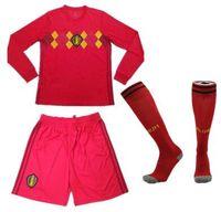 Wholesale men s long socks - 2018 World Cup Belgium home red Adult Long sleeve Soccer Jerseys thai LUKAKU E.HAZARD DE BRUYNE football shirt uniforms with socks full set