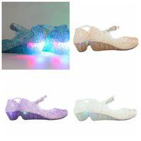 Wholesale shoes holes for sale - LED kids Shoes Girl Princess light Shoes Blue Crystal Sandals Girls Cosplay Shoes Blue PVC Hole Snowflake Sandal kids