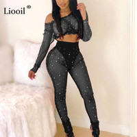 f80660647bd Liooil Sexy Club Two Piece See Through Mesh Beaded Jumpsuits Long Sleeve O  Neck Bodycon Black Red Party Rompers Womens Jumpsuit