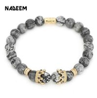 Wholesale vintage asian charm bracelet - Vintage Crown Charm Bracelet Pulseiras Masculinas Natural Marble Stone Bead Elastic Yoga Bracelet Women Pulseras Mens Bracelet
