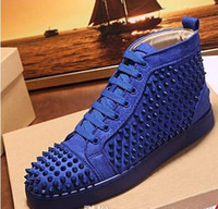 ingrosso designer scarpe uomo-Designer Brand Lover Shoes Crystal Men's Sneaker Shoes Red Bottom Shoes High Top Spikes Donna Walking Women Dress Dress Trainer