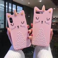 silikonkrone iphone fall großhandel-Reizender Fall für iPhone X 7 Fälle Süßigkeit-Farben-Rosa-Katzen-Ohr-Kronen-Katze Weiche TPU-Silikon-Kasten-Abdeckung für iphone 6 Plus