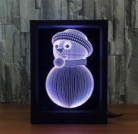 acryl beleuchtete schneemann großhandel-Neuheit Geburtstagsgeschenk USB Netter Schneemann Geformt Fotorahmen Dekorative Nachtlicht LED 7 Farben Kreative Nacht Acryl Tischlampe Licht