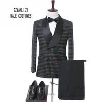 черные свадебные костюмы для женихов оптовых-Elegant  Men Suits 2017 Costume Homme Tailored Black Dots Double Breasted Tuxedos Groom Wedding Suits Formal Party