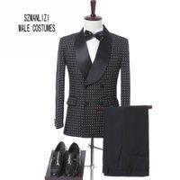 maßgeschneiderte anzüge großhandel-Elegante Marke Männer Anzüge 2017 Kostüm Homme Maßgeschneiderte Schwarze Punkte Zweireiher Smoking Bräutigam Hochzeitsanzüge Formale Party