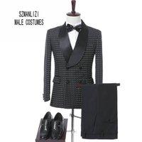 ingrosso vestiti su misura dello sposo-Elegante uomo di marca abiti 2017 Costume Homme su misura nero puntini doppio petto smoking abiti da sposa formale partito formale