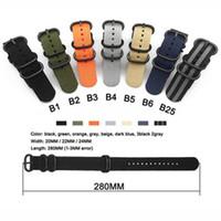 nato grupları toptan satış-Ağır Naylon NATO Watchband Kayışı 18mm 20mm 22mm 24mm Watch Band Zulu Kayış Paslanmaz Çelik Yüzük Toka Tuval Ordusu