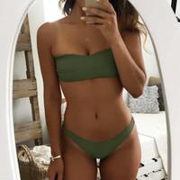 Wholesale green bandeau bikini - Sexy Brazilian Bikini Women Solid Swimwear Push Up Swimsuit Thong Biquini Bandeau Bikinis Green Bathing Suit Maillot De Bian