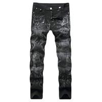 новый узор джинсов оптовых-Lguc.H 2018 New Men's Printing Black Slim Elasticity Skeleton Pattern Casual Jeans Cotton Comfortable Cowboy Large Size Trousers