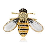 sarı pimler toptan satış-Kadınlar için yeni Varış 2018 kristal sarı arı Broşlar Moda renkli Broş Sevimli Broş Pin Iyi Hediye Broş Pin Ücretsiz nakliye