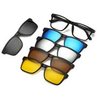 Wholesale male clip - 5+1 Polarized set Magnetic Clip Sunglasses Women Glasses with Magnetic Clip on Sunglasses Polarized For Male Multi-Purpose Eyewear