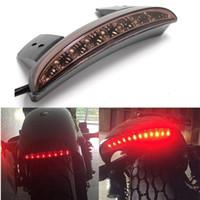 stop lensler toptan satış-1 adet Motosiklet Duman LED Dur Fren Plaka Arka Kuyruk Işık Dur Koşu Işık için Harley (Duman Lens)