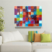 Wholesale Artist Picture - Fashion Design Artist Hand-painted Abstract Colorful Square Oil Painting on Canvas Rich Colors Modern Painting Art Picture