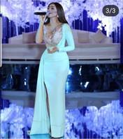 berühmtheit ein schulter langes kleid blau großhandel-Wunderschöne 2018 neue blaue Abendkleider lange Applikationen Perlen One Shoulder Long Sleeves Spandex Mantel Celebrity Kleider nach Maß