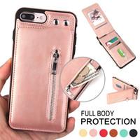Wholesale iphone flip up card resale online - Premium Holster Zipper Leather Wallet Up Flip Slim Card Slots Shockproof Folio Defender Shell Magnetic Clasp Kickstand Holder for iPhone X