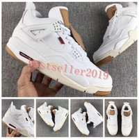 Wholesale new star jeans - 2018 New Release 4 4s White Denim Jeans Basketball Shoes Mens Trainers Sports LS White Denim Jean Sneakers Zapatos