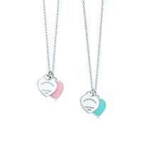 la pendentif achat en gros de-Argent 925 bleu et rose émaillé coeur pendentif collier Lady bijoux amour personnalisation de la chaîne condol cadeau de mariage