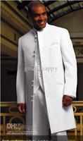 venta de esmoquin de novio largo al por mayor-Venta caliente Mandarin solapa largo novio blanco esmoquin hombres de alta calidad desgaste de la boda Hombres traje de fiesta formal de negocios traje (chaqueta + pantalones + Tie + chaleco) 32