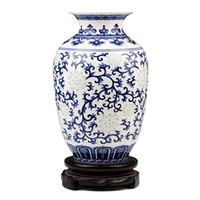 antiquitäten chinesische vasen großhandel-Jingdezhen Reis-Muster Porzellan Chinesische Vase Antik Blau-Weiß Bone China Dekoriert Keramikvase