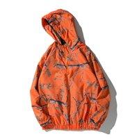 homens alaranjados do hoodie venda por atacado-Full impresso disjuntor do vento das mulheres dos homens jaqueta com capuz 2018 outono meia zíper dos homens pulôver jaqueta preta branco orange